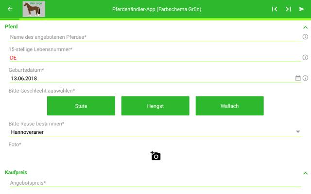 Beispiel Datenerfassung für Pferde und grünes Farbschema (Standardsicht)