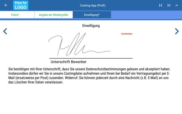 Unterschrift (Profisicht)