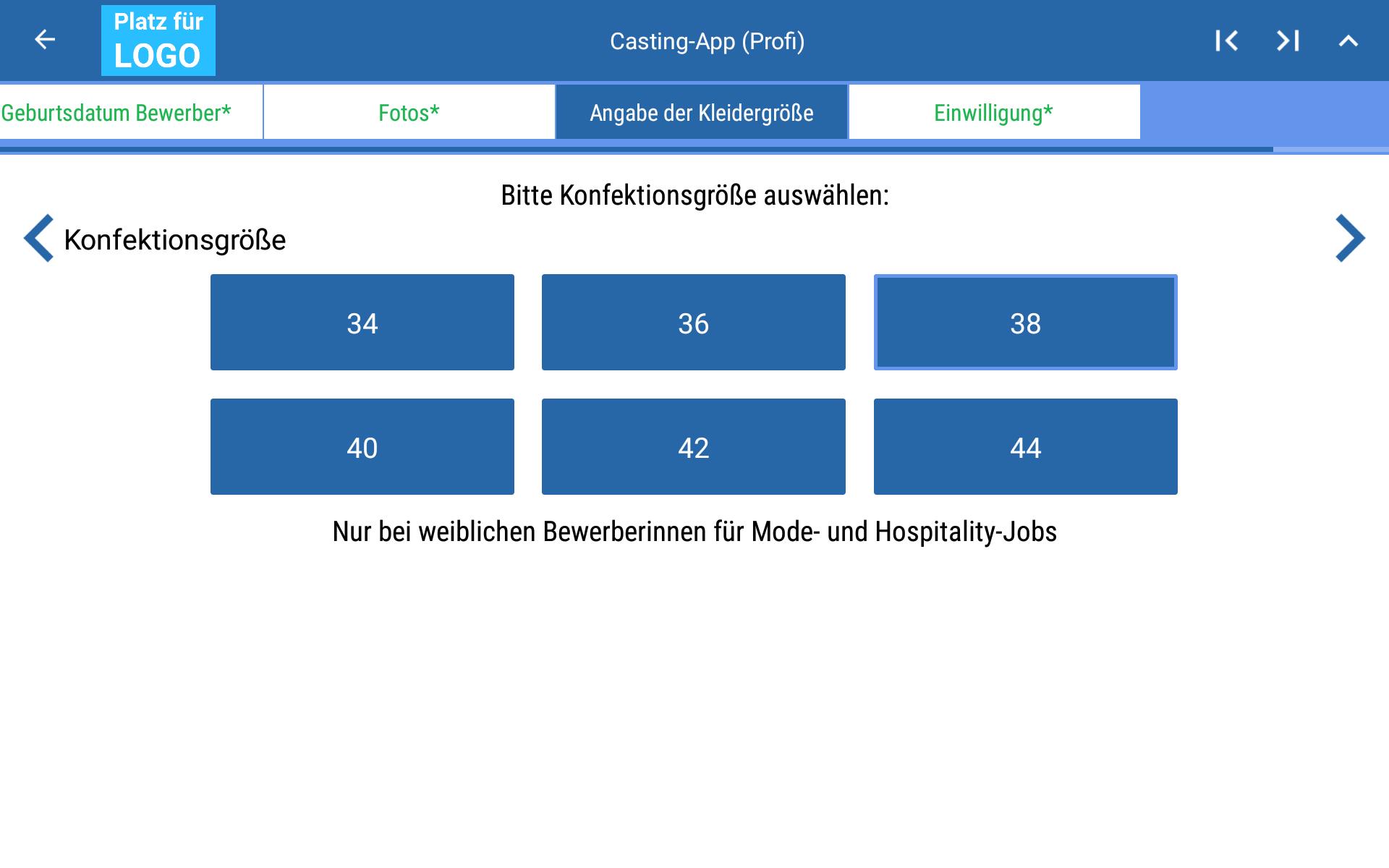 Abfrage Konfektionsgröße in Beispiel Casting-App (Profisicht)