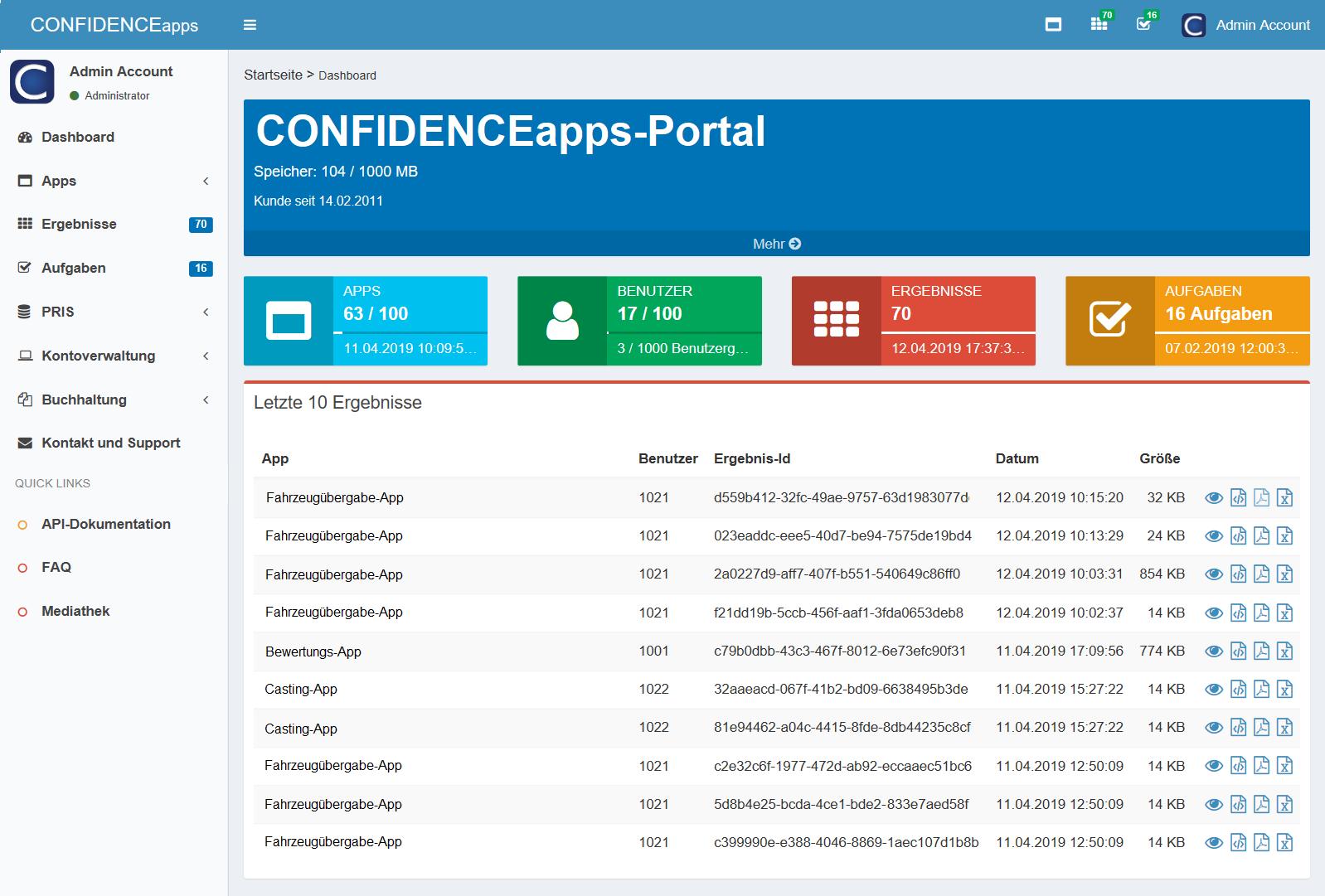 Verwalten mit CONFIDENCEapps-Portal