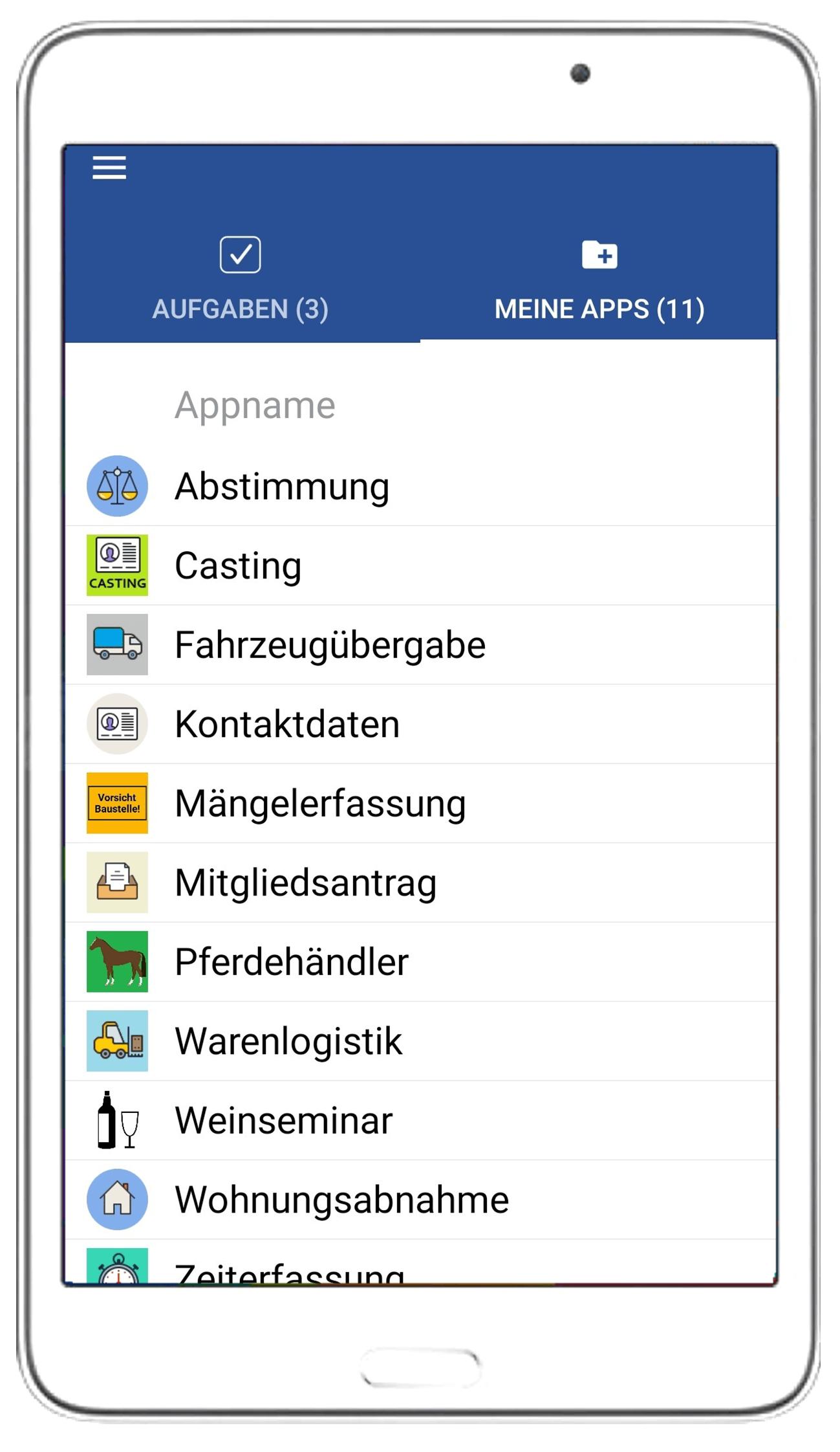 In der App-Liste werden alle verfügbaren Apps angeboten.
